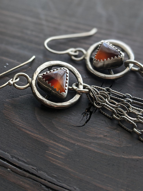Red Agate Chain Earrings