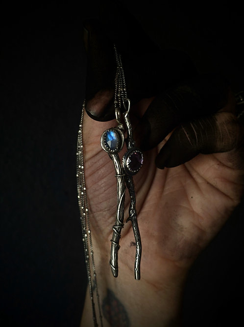 Magic Wand Necklace - Moonstone and Amethyst : In The Witch's Lair