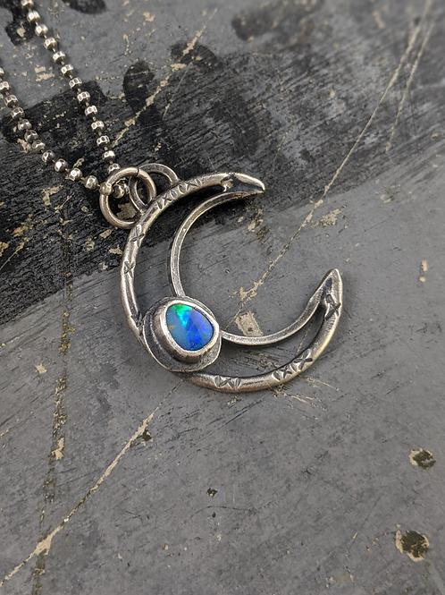 Crescent Gem Drop Necklace - Opal