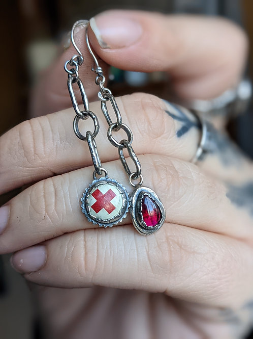 Healer Earrings : Vintage Red Cross button + Garnet Drop