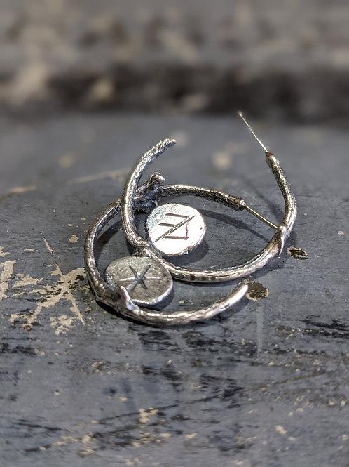 Relic Earrings : Bind rune and Branch Hoops