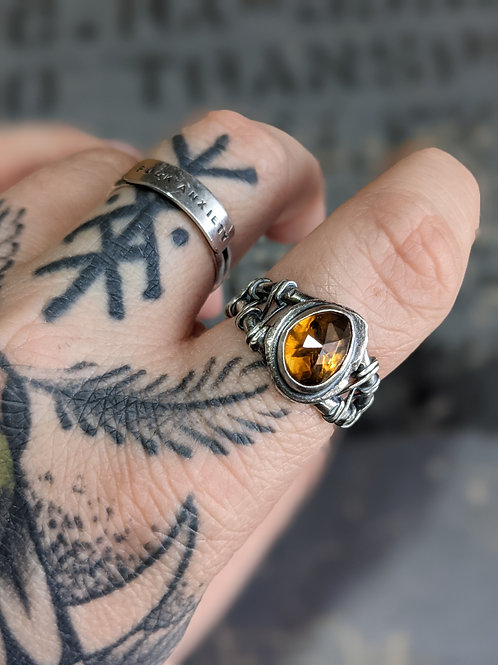 Relic Ring : Cognac Quartz with Signature Relic Band Size 10