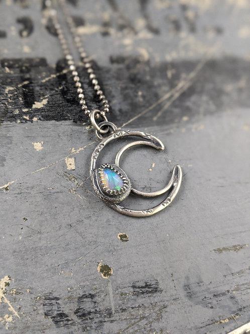 Crescent Gem Drop Necklace - Ethiopian Opal (rose cut)