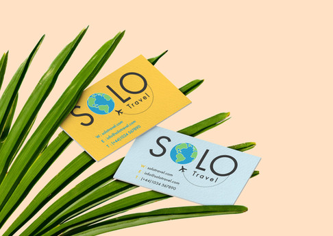 mockup brand Solo Travel business cards.