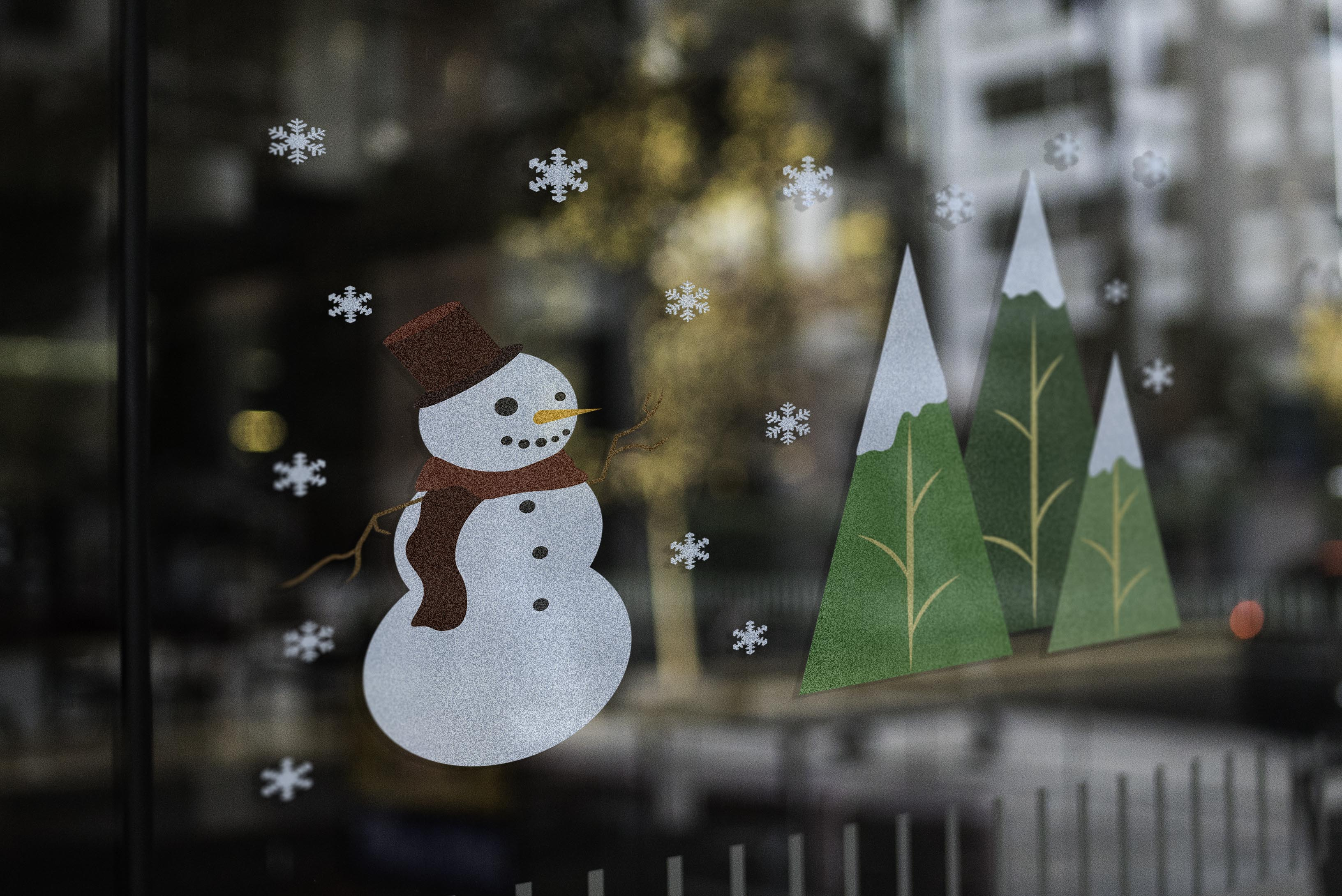 Winter Scene Window Vinyl Mockup