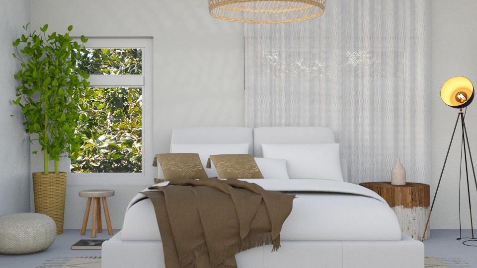 חדר שינה בסגנון כפרי ומואר
