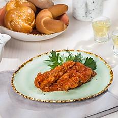 Филе щуки под маринадом из томатов и репчатого лука