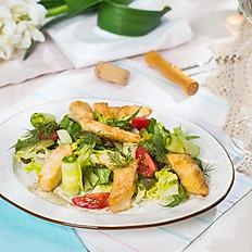 Тёплый салат со щукой