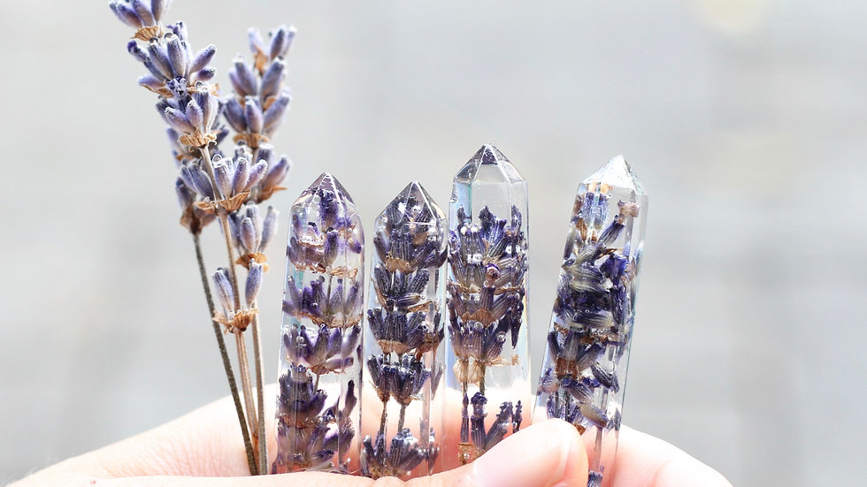 """Preserved Lavender Crystal Necklace 