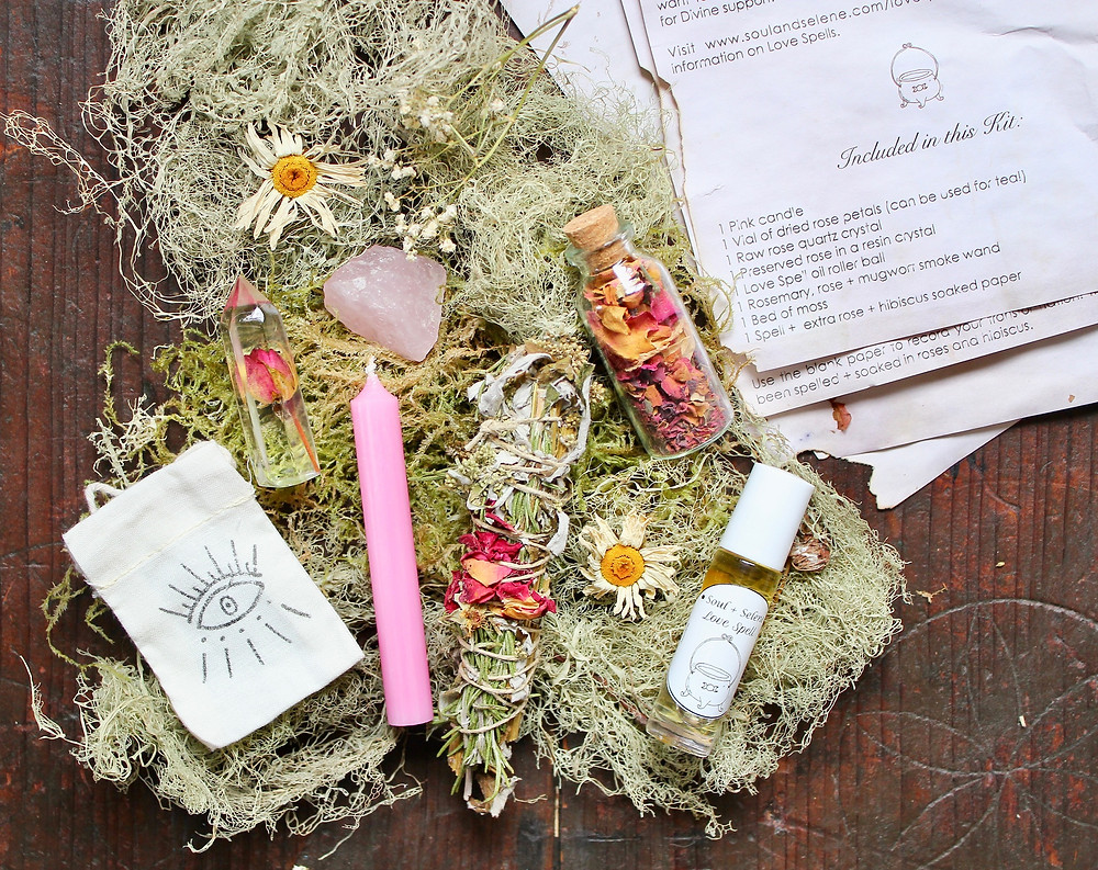 Ingredients to a love spell kit using elemental magic
