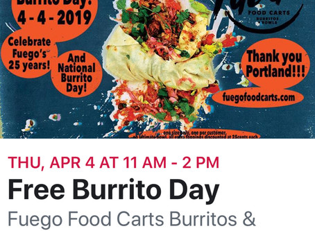 Free burrito day on April 4th! Click here for da deets!! :)