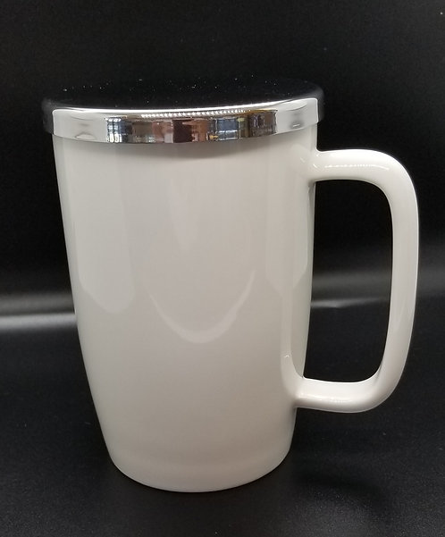 Brew-in Mug w/ Infuser & Lid - White