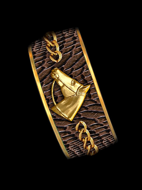 Chestnut Python- Gold Profile Chain- Wide
