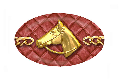 MF Quilted Red Barn Horse Head Chain