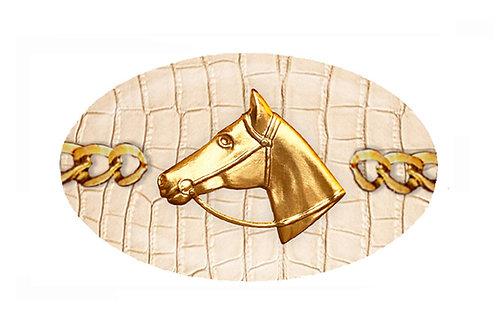 MF- Cognac Python- Gold Horse Profile Chain
