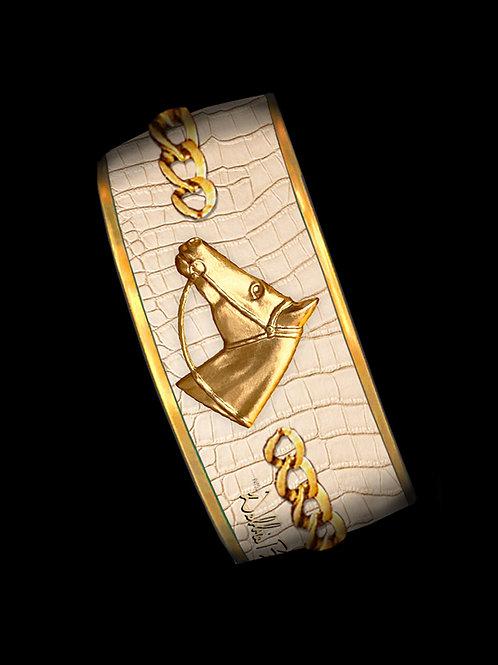 Cognac Python- Gold Profile Chain- Wide