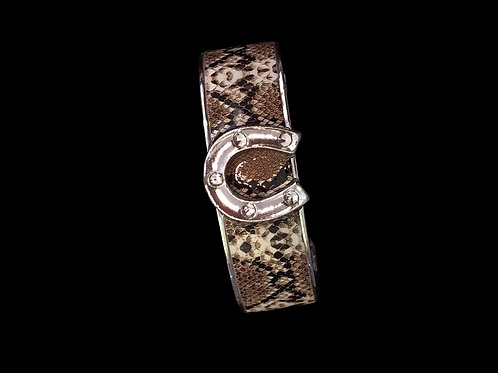 Silver Brown Crystal Python Horseshoe Nano Cuff