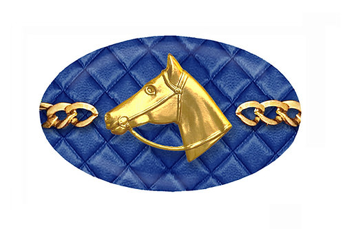 MF Quilted Newport Blue Horse Head Chain