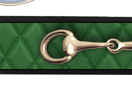 Key Chain-Quilted Hunter Green-Gold Bit