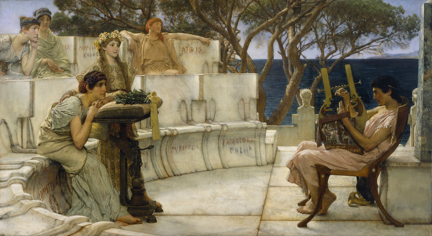 "In 1870, the Dutch-born, Belgian-trained artist Alma-Tadema turns to early Greece to illustrate a passage by the ancient Greek poet Hermesianax (active ca. 330 BC) preserved in Atheneaus, Deipnosophistae, ""Banquet of the Learned,"" book 2, line 598. On the island of Lesbos (Mytilene), in the late 7th century BC, Sappho and her companions listen rapturously as the poet Alcaeus plays a ""kithara"". Striving for verisimilitude, Alma-Tadema copied the marble seating of the Theater of Dionysos in Athens, although he substituted the names of members of Sappho's sorority for those of the officials incised on the Athenian prototype."