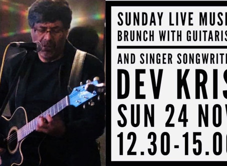 Sunday Live Music Brunch with Guitarist and Singer Songwriter Dev Kris - Sun 24 Nov