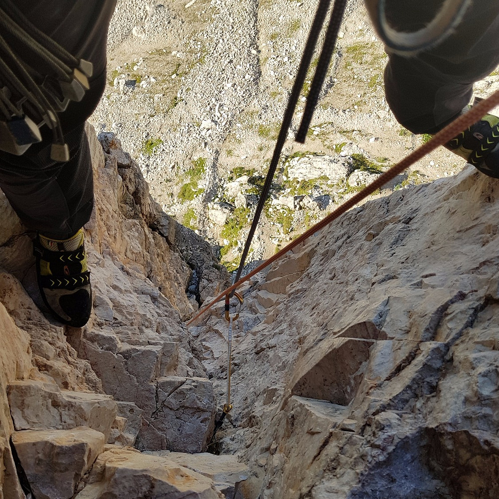 View down from the first belay