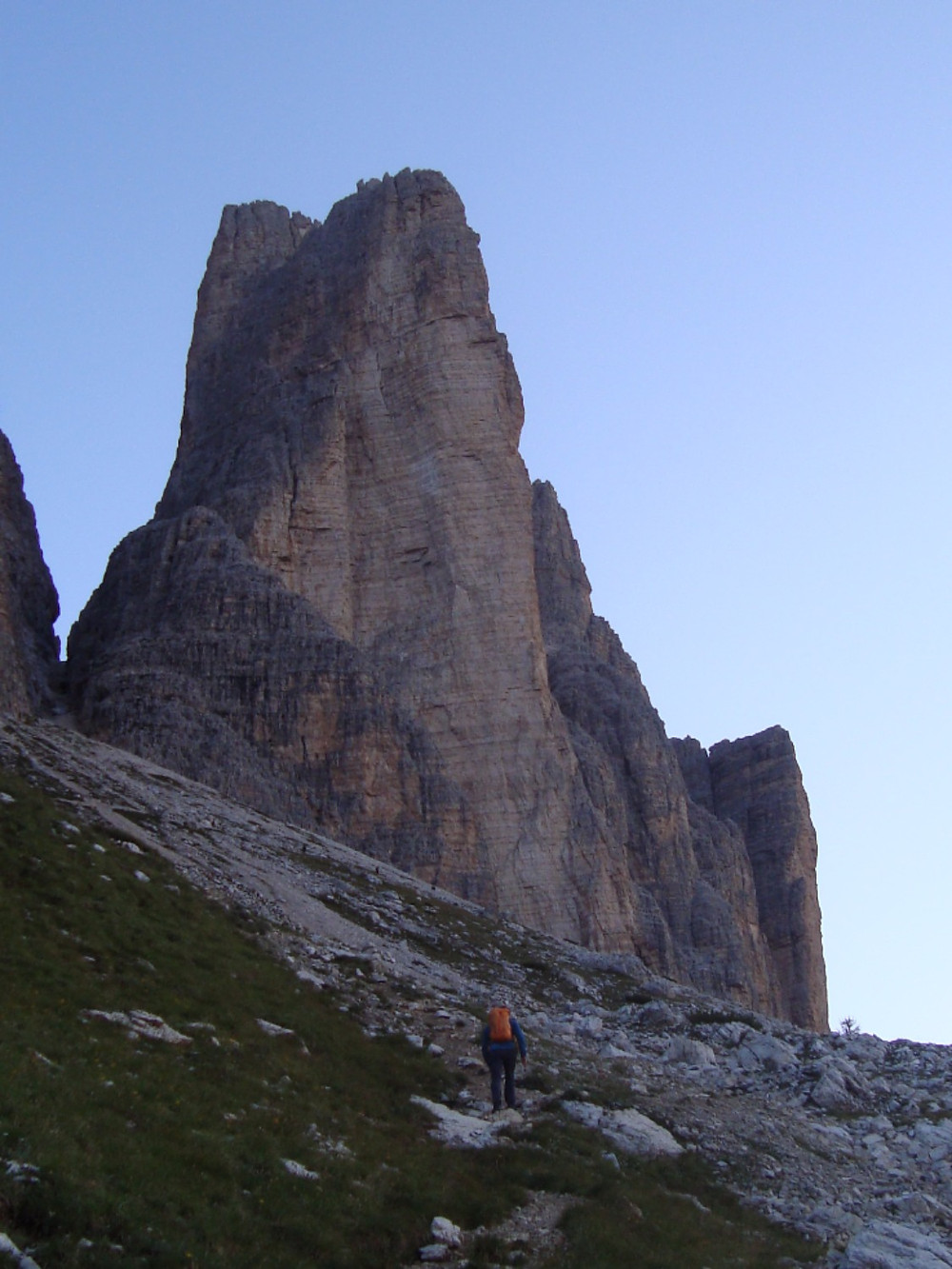 The Yellow Edge on Cima Piccola, climbs the obvious arete in 14 pitches