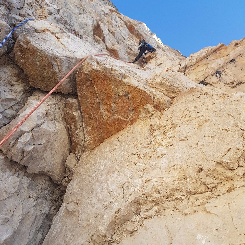 Andy pulling throught the 1st Crux