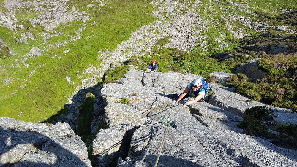 Leading two clients on Amphitheater Buttress