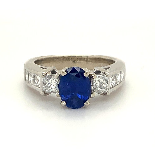 Estate Diamond Ring With Ceylon Blue Sapphire