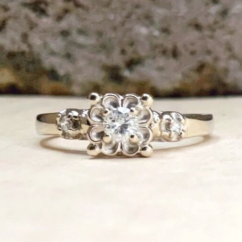 Estate Floral Diamond Engagement Ring