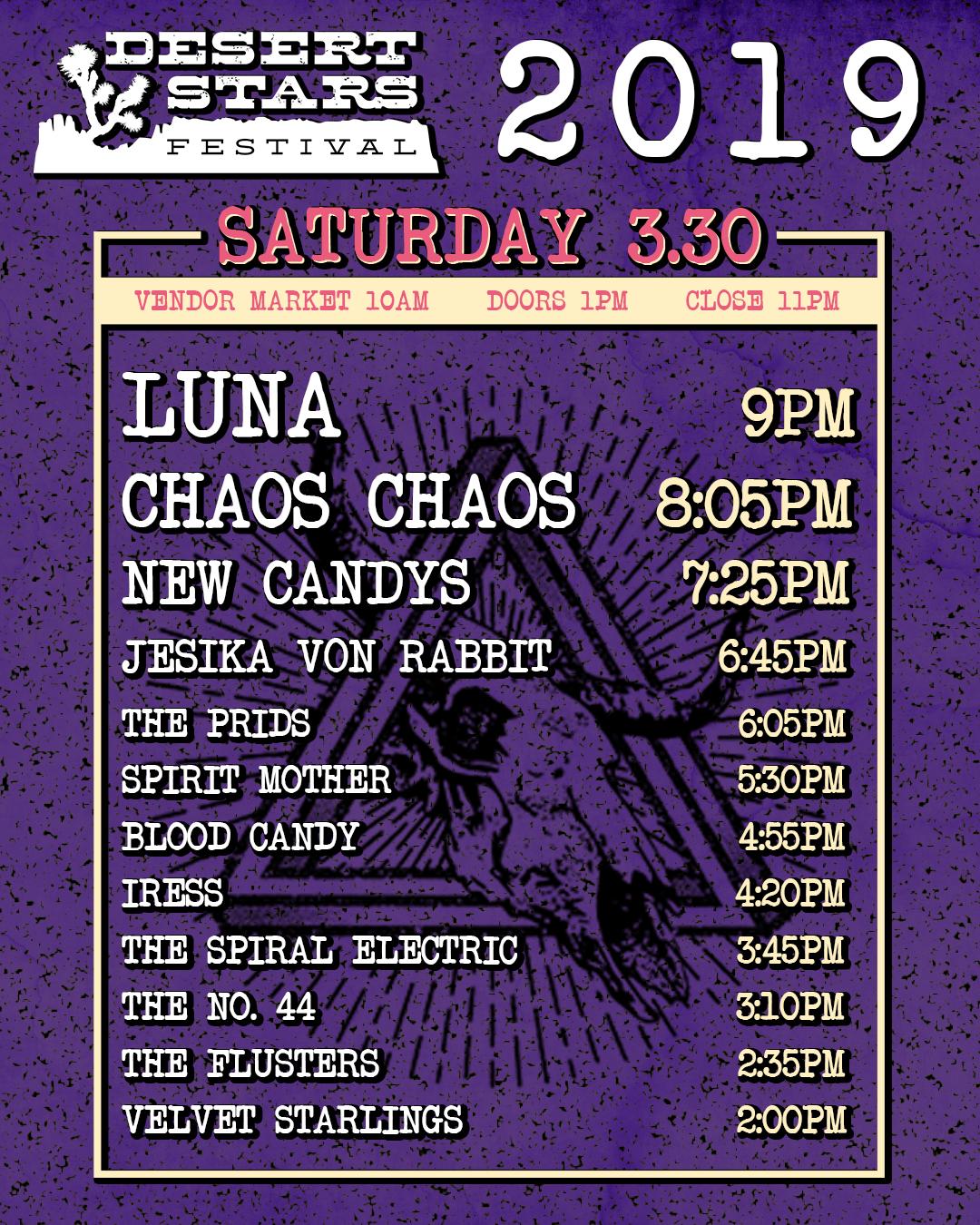 Desert Stars Schedule Saturday 3-30