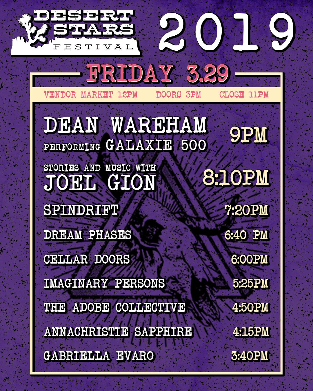 Desert Stars Schedule Friday 3-29