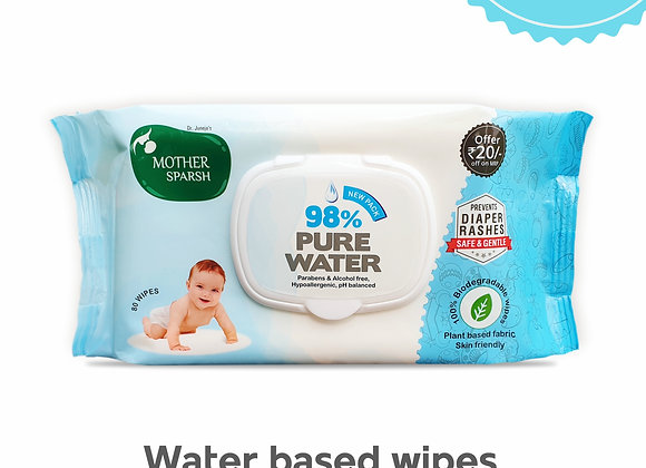 Mother Sparsh 98% Water Wipes (80 Scented Baby Wipes) - Plant Based Fabric
