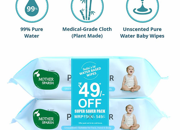 Mother Sparsh 99% Water Wipes COMBO (72 Unscented Baby Wipes *2)