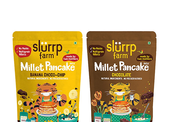 Slurrp Farm Instant Breakfast Millet Pancake Mix, Banana Choco-Chip, Supergrains