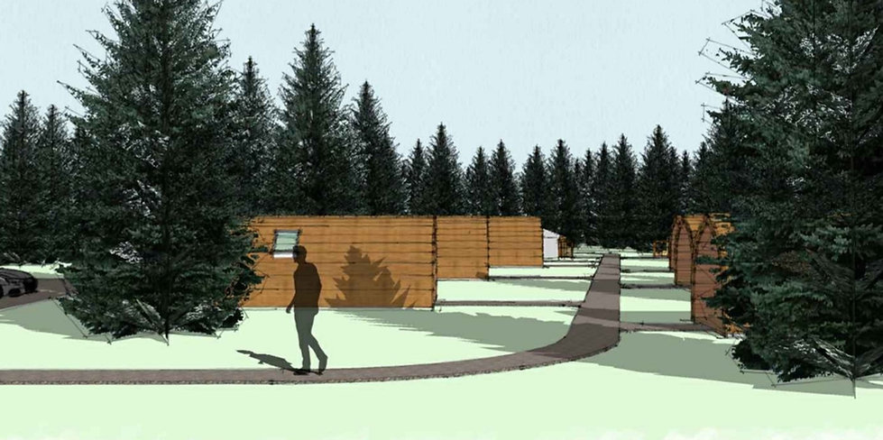 Artist impression of the Glamping site in Bathgate.