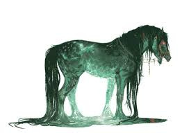 The mystical Kelpie in the form of a water horse.