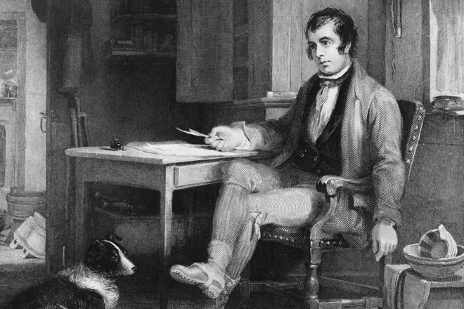 Robert Burns sat at his desk in a portrait of him at work