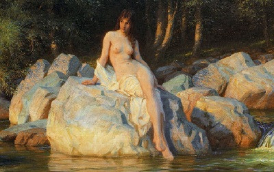 The alluring human form of the Kelpie sat on the river bank.