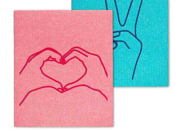 Peace and love dishcloth