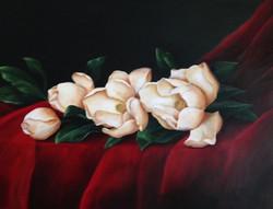 Magnolias on Red Velvet