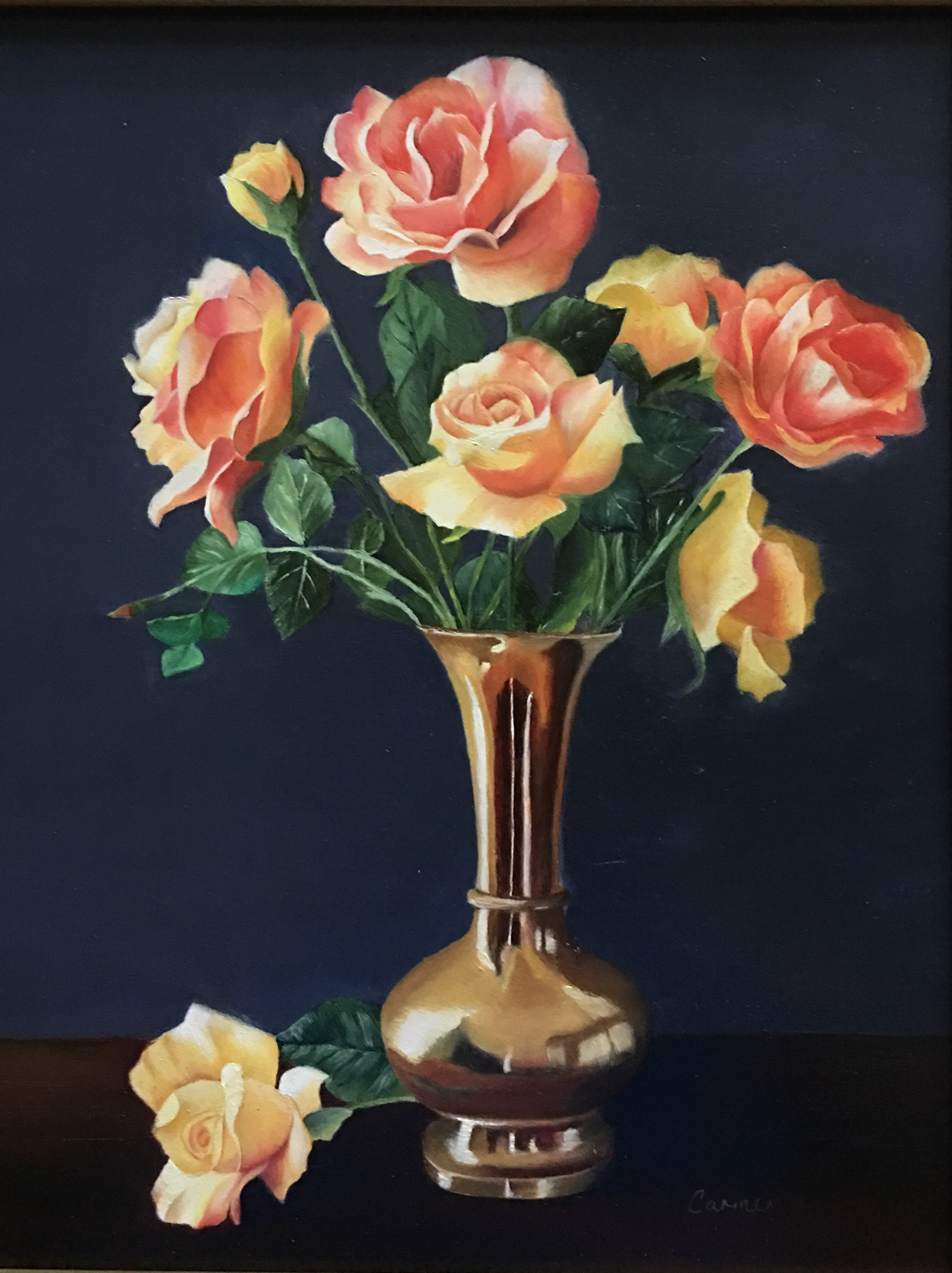 Silk Roses in Copper Vase