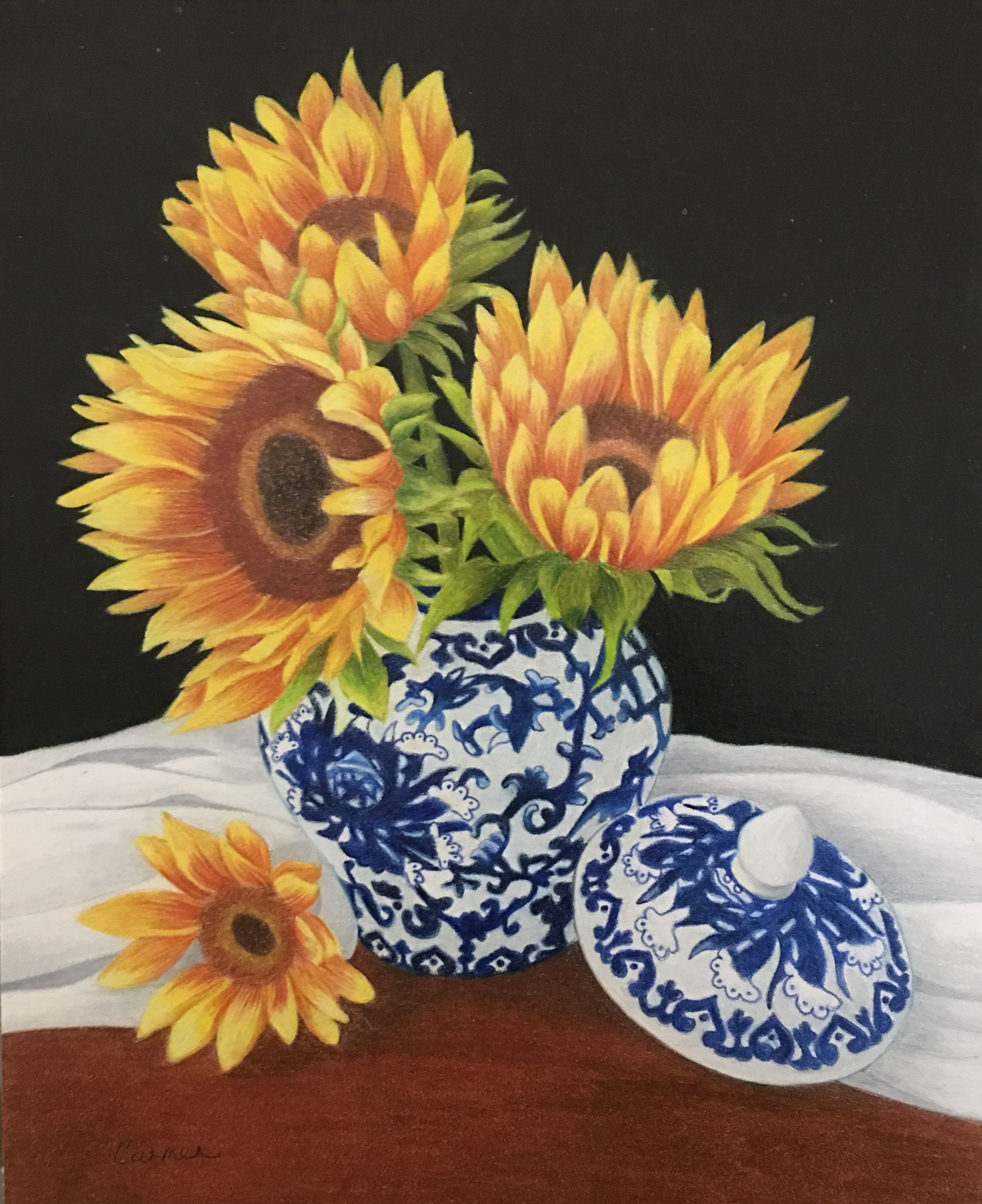 Sunflowers in Chinese Vase