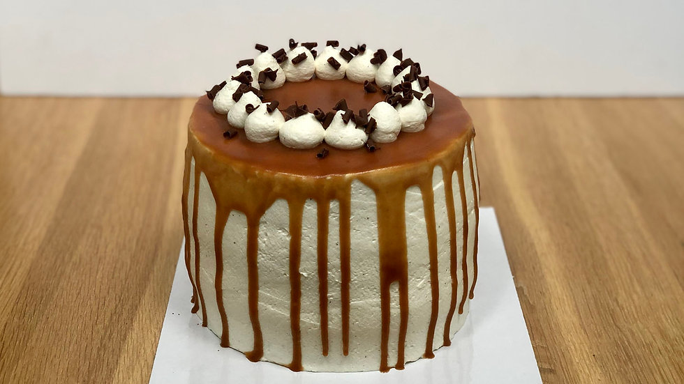 Chocolate, pear and caramel layer cake