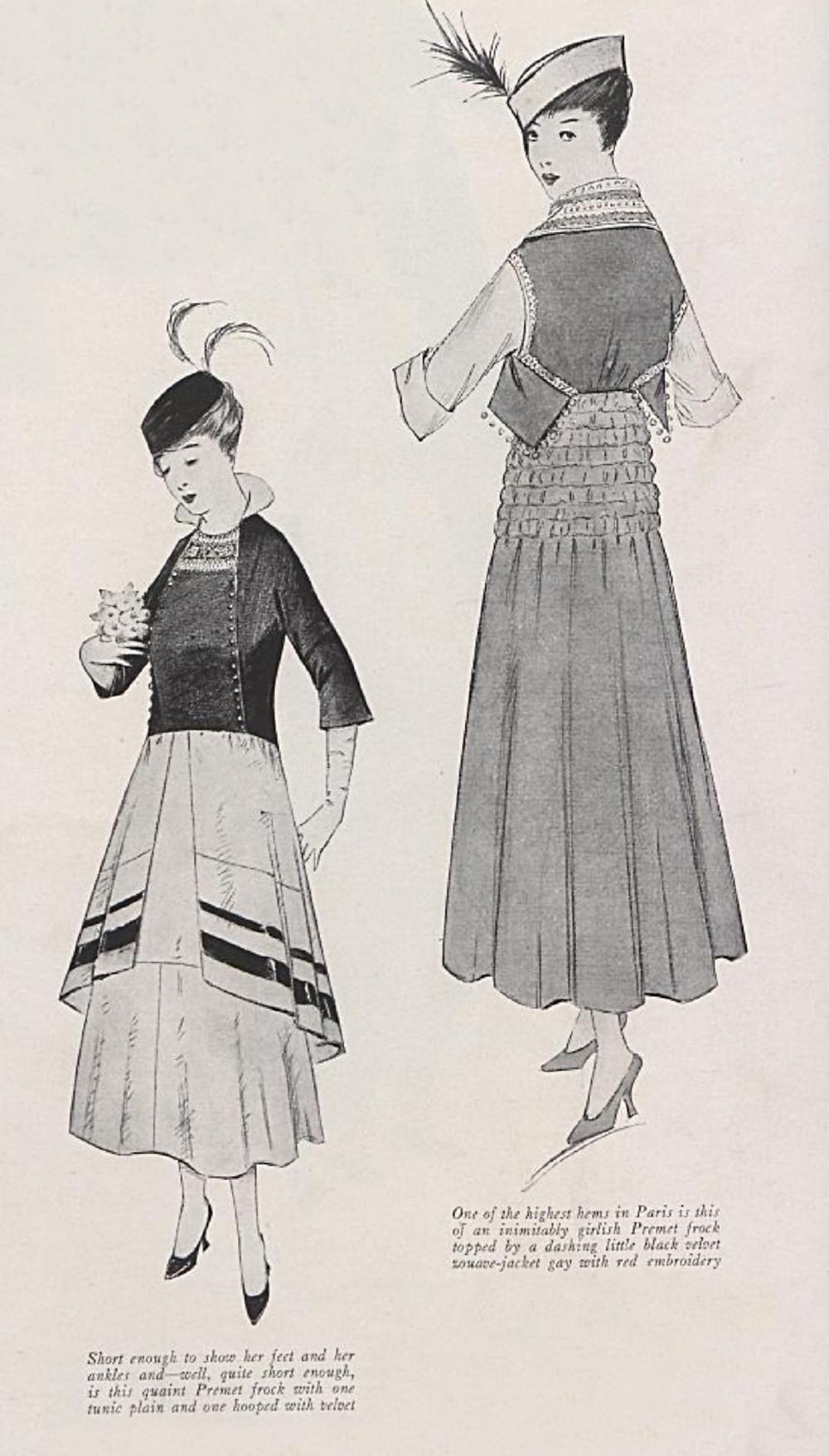 Premet's ultra short skirts of 1914. Vogue Archive.