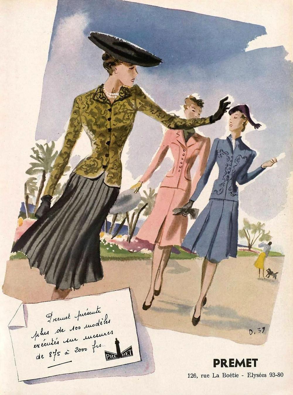 Premet advertisement. From L'Art et la Mode, 1939.