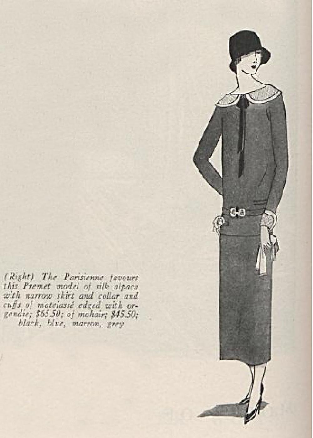 "A fall 1923 lower priced copy of Premet's famous ""La Garconne"" day dress. Vogue Archive."