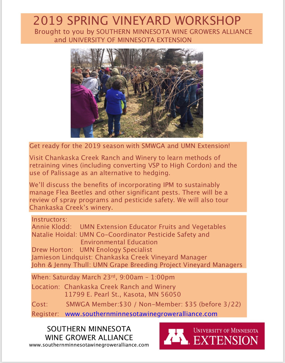 Spring Vineyard Workshop March 23, 2019