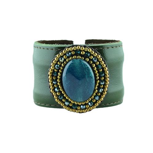 Emerald Cliff Leather Cuff